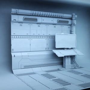 Ansicht eines kompletten Moduls aus dem Aufbau des Titelbildes. Ausmodelliert wurden nur Bereiche die sich im direkten Blickfeld des Betrachters befinden.