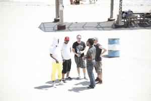 Video shooting at beautiful white sands in Jamaica