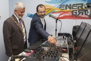 The Lord Mayor of Oxford, Councillor Mohammed Niaz Abbasi formally switches on Energy Groove Radio with Freddy El Turk, Founder and Managing Director of Energy Groove.