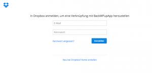 Einloggen bei Dropbox