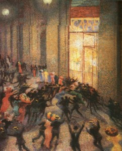 """UMBERTO BOCCIONI - Rissa in Galleria (1910)"""