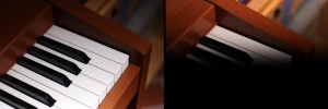 links: Blitzbelichtung bei 1/4000 Sekunde mit Kurzzeitsynchronisation – rechts: Abschattung durch den Verschlussvorhang bei 1/320 Sekunde ohne Kurzzeitsynchronisation