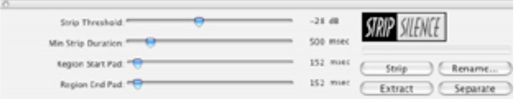 "Abbildung 16 - Screenshot mit Pro Tools-Dialog ""Strip silence"""