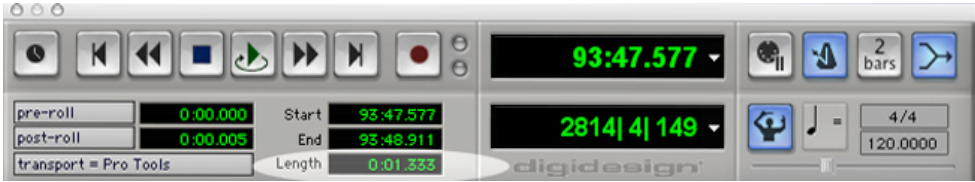 Abbildung 19 - Screenshot von Pro Tools-Transportfeld mit Regionszeitangabe