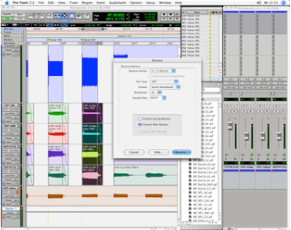 """Abbildung 22 - Screenshot mit markierter Region und Pro Tools-Dialogfenster """"Bounce to disc"""""""