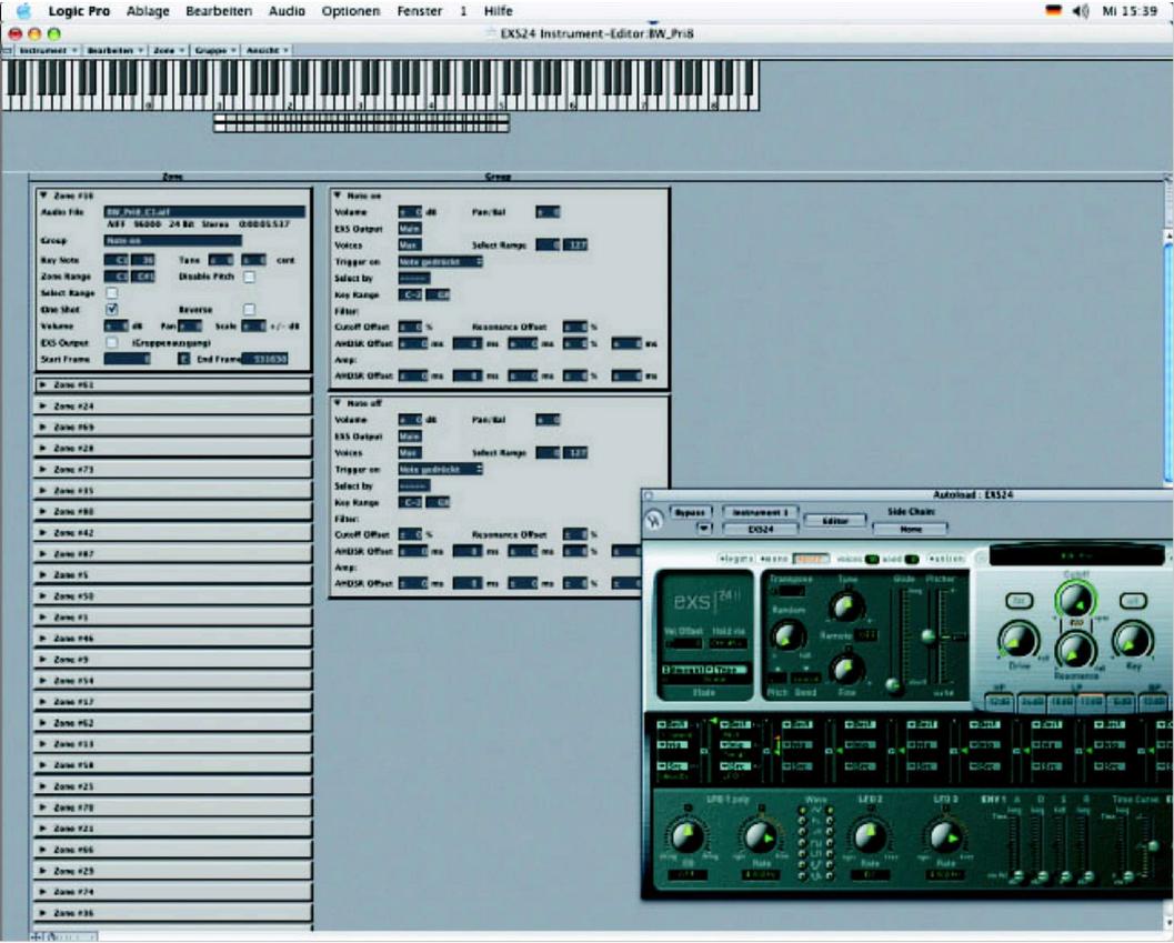 Abbildung 23 - Erstellung von 64 Virtuellen Instrumenten im EXS24 von Logic